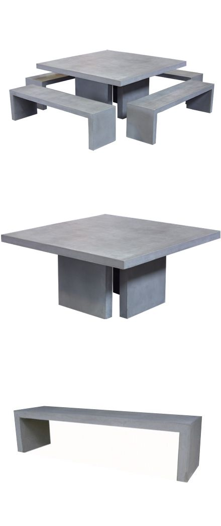 A Square Concrete Table and Bench set adds elegance to outdoor living. Raw concrete is sturdy, edgy, resilient, and lighter than 100% concrete.