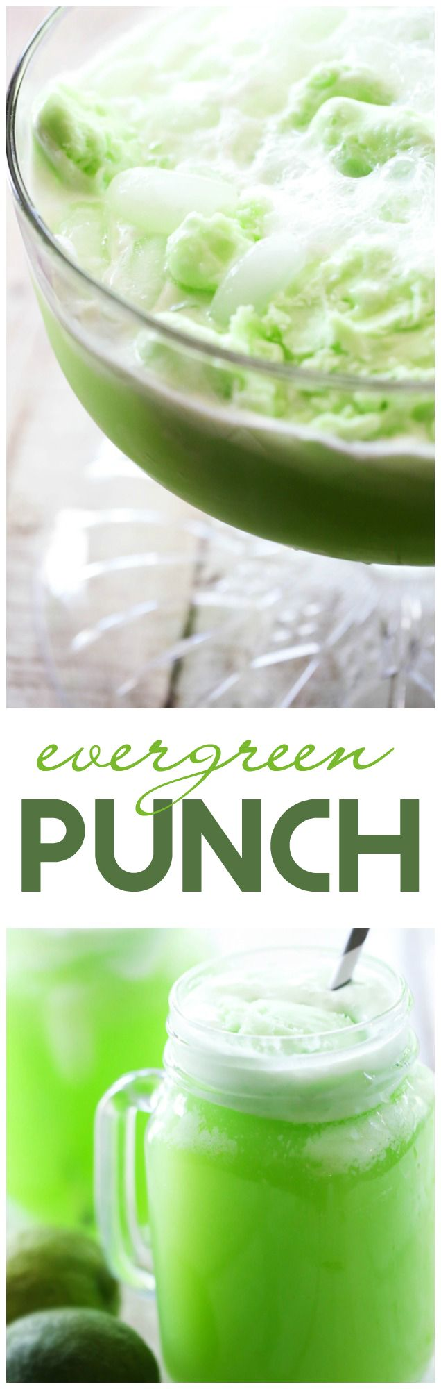 Evergreen Punch... this recipe is SO simple and is a perfect beverage to serve at get togethers! It is beautiful and delicious!
