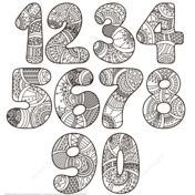 Zentangle Numbers Set 0 9 Coloring page