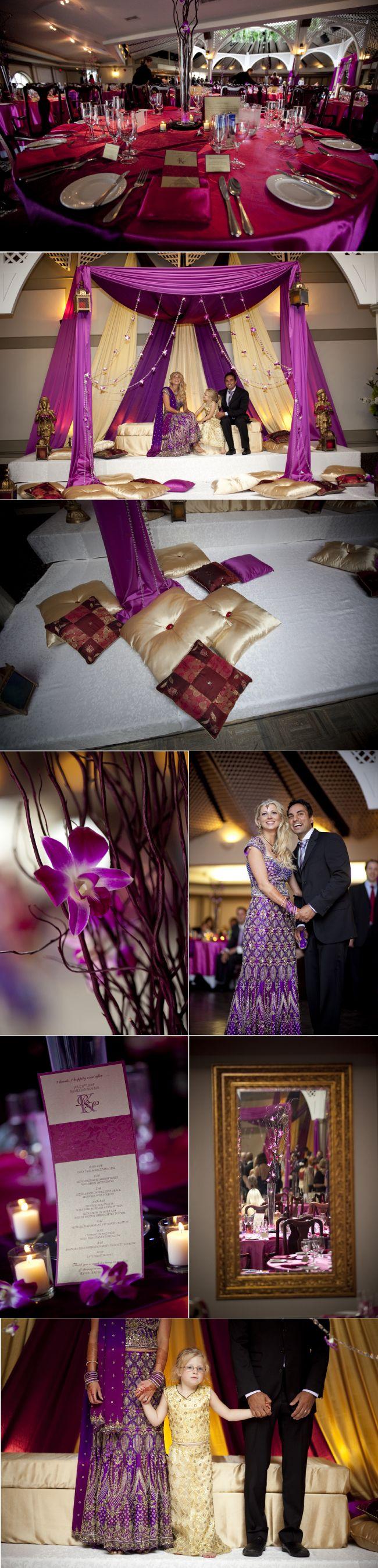 Indian fusion wedding, purple wedding decor, purple mandap