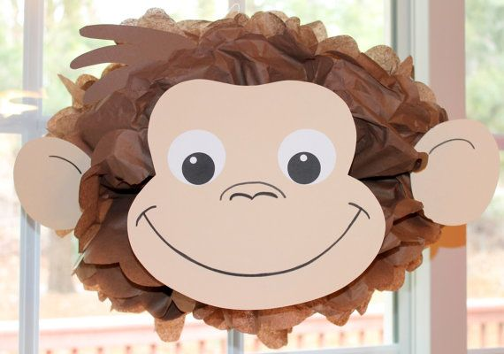 Curious George monkey inspired pom pom kit baby shower first birthday party decoration