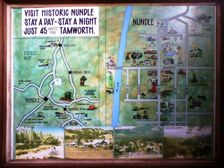 OLD NUNDLE MAP - on the wall at the Nundle Visitor Information Centre in Jenkins Street. Formed part of a display at the Tamworth visitor Information Centre before the building of the Nundle Centre.
