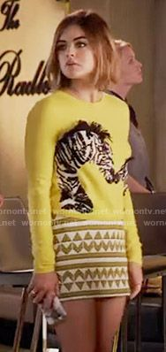 Aria's yellow zebra print sweater on Pretty Little Liars.  Outfit Details: https://wornontv.net/56004/ #PLL