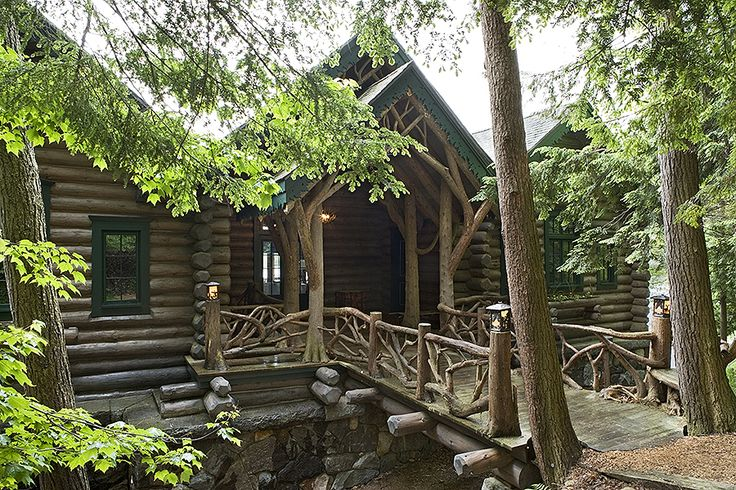 18 best adirondack style maple island log homes images on for Adirondack cabin builders