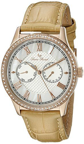 Women's Wrist Watches - Lucien Piccard Womens LP10334RG02BG Brela Analog Display Japanese Quartz Beige Watch -- More info could be found at the image url.