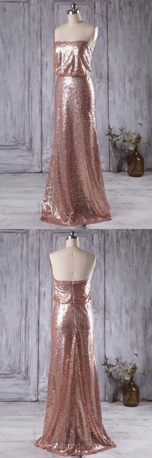 Long Bridesmaid Dresses, Sheath/Column Bridesmaid Dresses, Sequined Bridesmaid Dresses, Sequins Strapless Bridesmaid Dresses