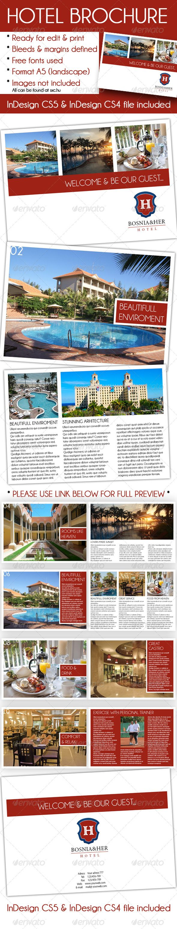Elegant hotel brochure a5 indesign template hotel for Free indesign brochure templates cs5