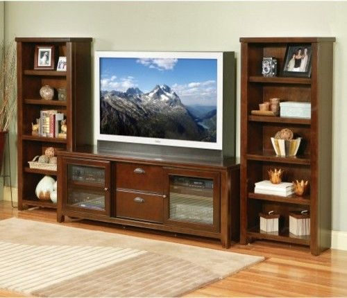 Tribeca Loft Entertainment Center with Bookcase Piers by Kathy Ireland traditional media storage