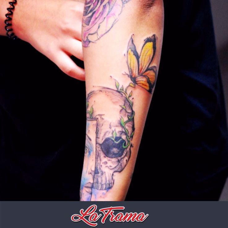 Vida e Morte Aquarela By Rodrigo Lola Tattoo feita em Studio La Trama