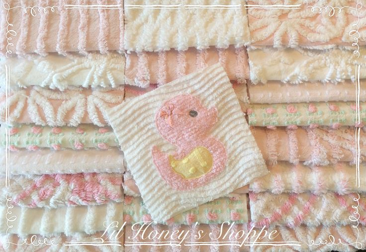 Chenille fabric quilt squares 25-6 inch blocks, Baby pink and white, duckie,100% cotton by lilhoneysshoppe on Etsy
