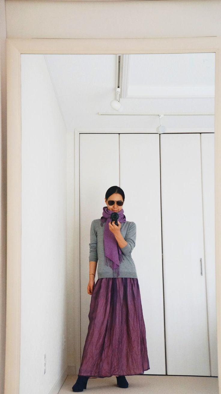 ★パープル×グレー挑戦コーデ&続・固定観念について★|かっこいい女への道 40代ファッション・ マインド コーチング ニット ロングスカート 冬コーデ
