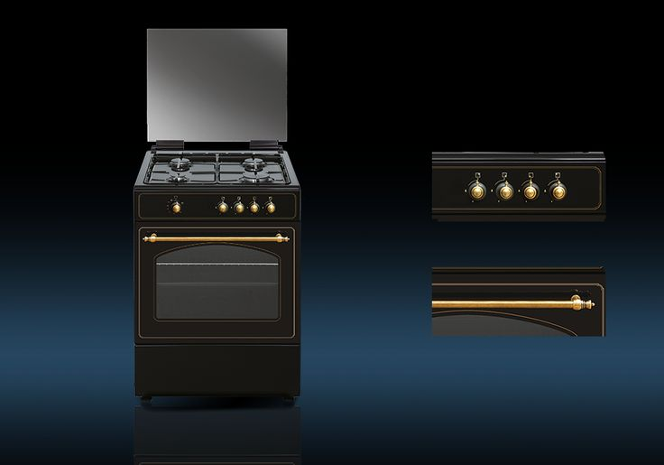 Cocina Rústica a Gas Butano o Gas Natural. Acabado rústico, color antracita.  RU6060B