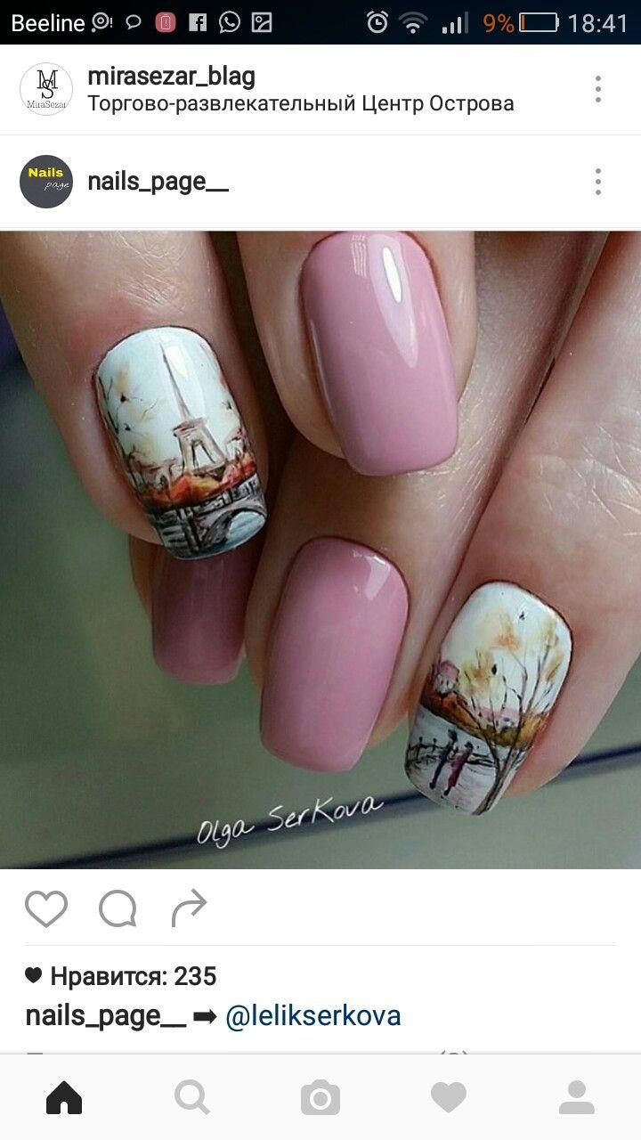 Pink manicure, paris, autumn