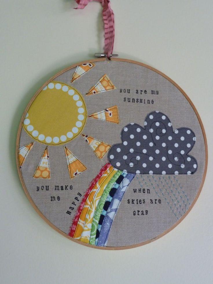 Cute.: Ocd, Sunshine Hoop, Obsession Crafts, Cute Ideas, Hoop Art, June 2012, Crafts Disorders, Embroidery Hoop, Baby Songs