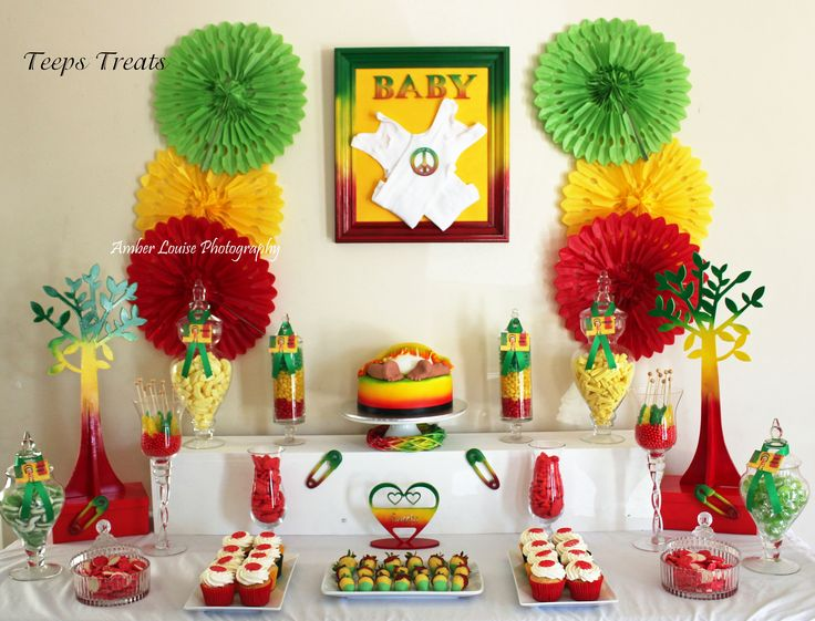 Rasta themed baby shower candy buffet candy buffets by for Jamaican bathroom designs
