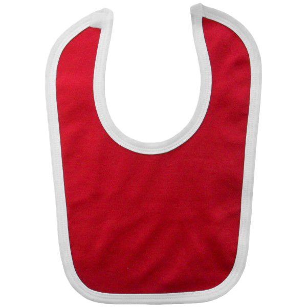 bac02198 - Red & White contrast baby blank velcro bib