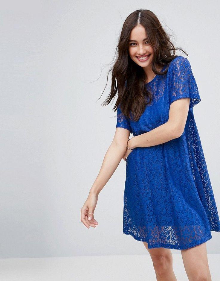 ASOS Mini Lace T-Shirt Dress - Blue