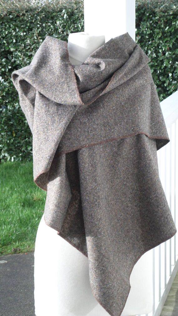 grande écharpe couverture  femme laine marron  lin'eva