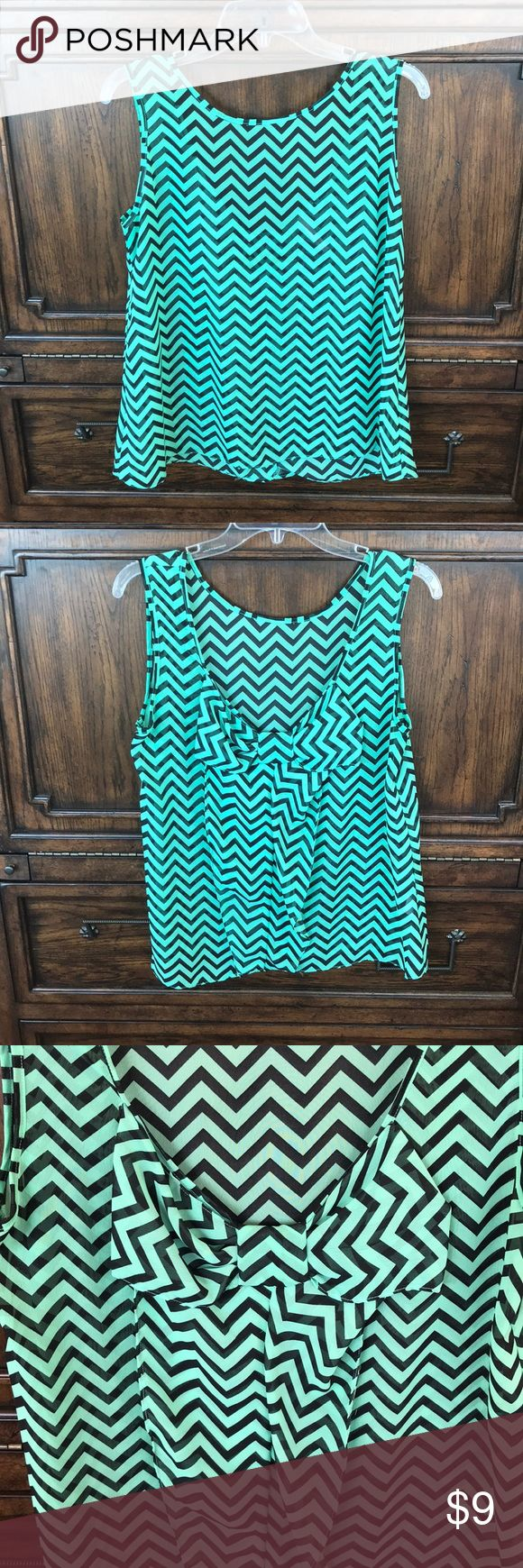 Emma Rose Chevron Top with Bow Back Size Medium Emma Rose Size Medium Green and Black Chevron sleeveless top with low bow back. This sheer top is perfect for this spring and summer! VGUC, asking $9. Smoke Free Home. Emma Rose Tops