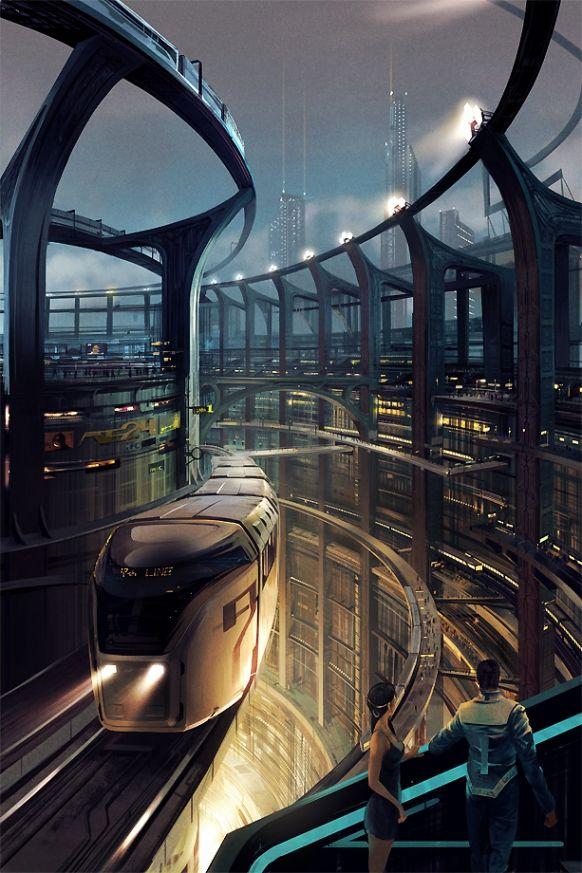 Tokyo in the future. Beautiful artwork.