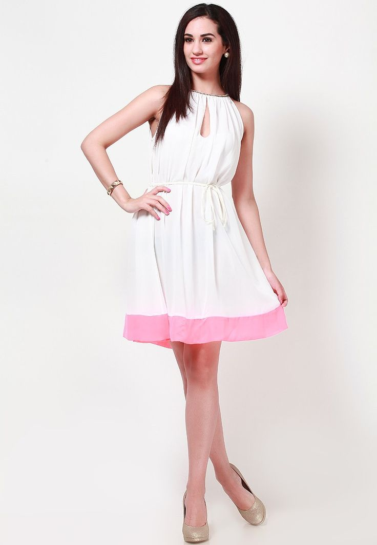 Sleeve Less Solid White Dress at $49.40 (24% OFF)