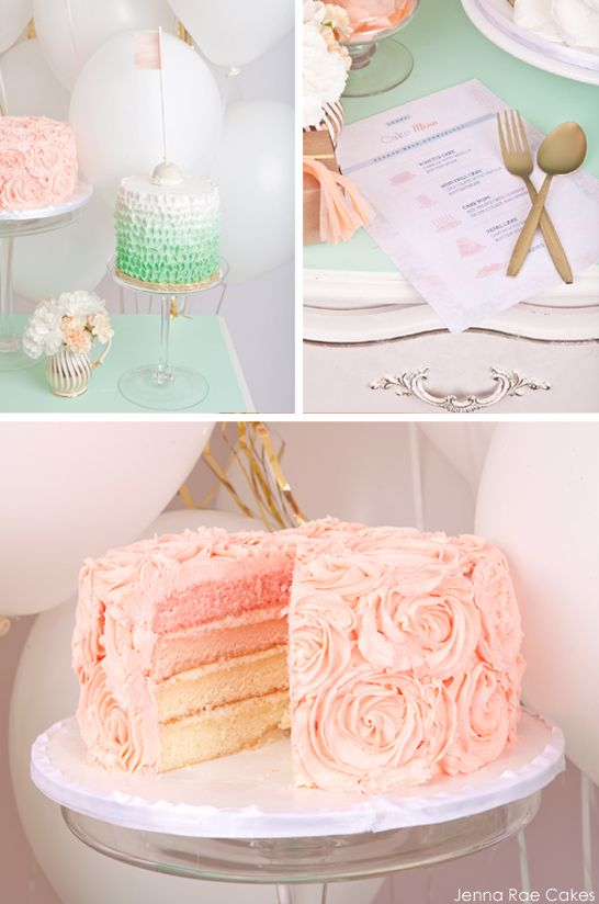 Fresh & Feminine Cake Table   Ombre cake, Tables and Pink ...