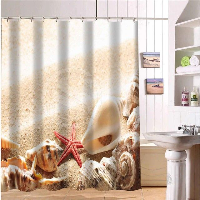 Cool Shower Curtains Beach Shells And Starfish With Images Cool Shower Curtains Shower Curtain Bathroom Shower Curtains
