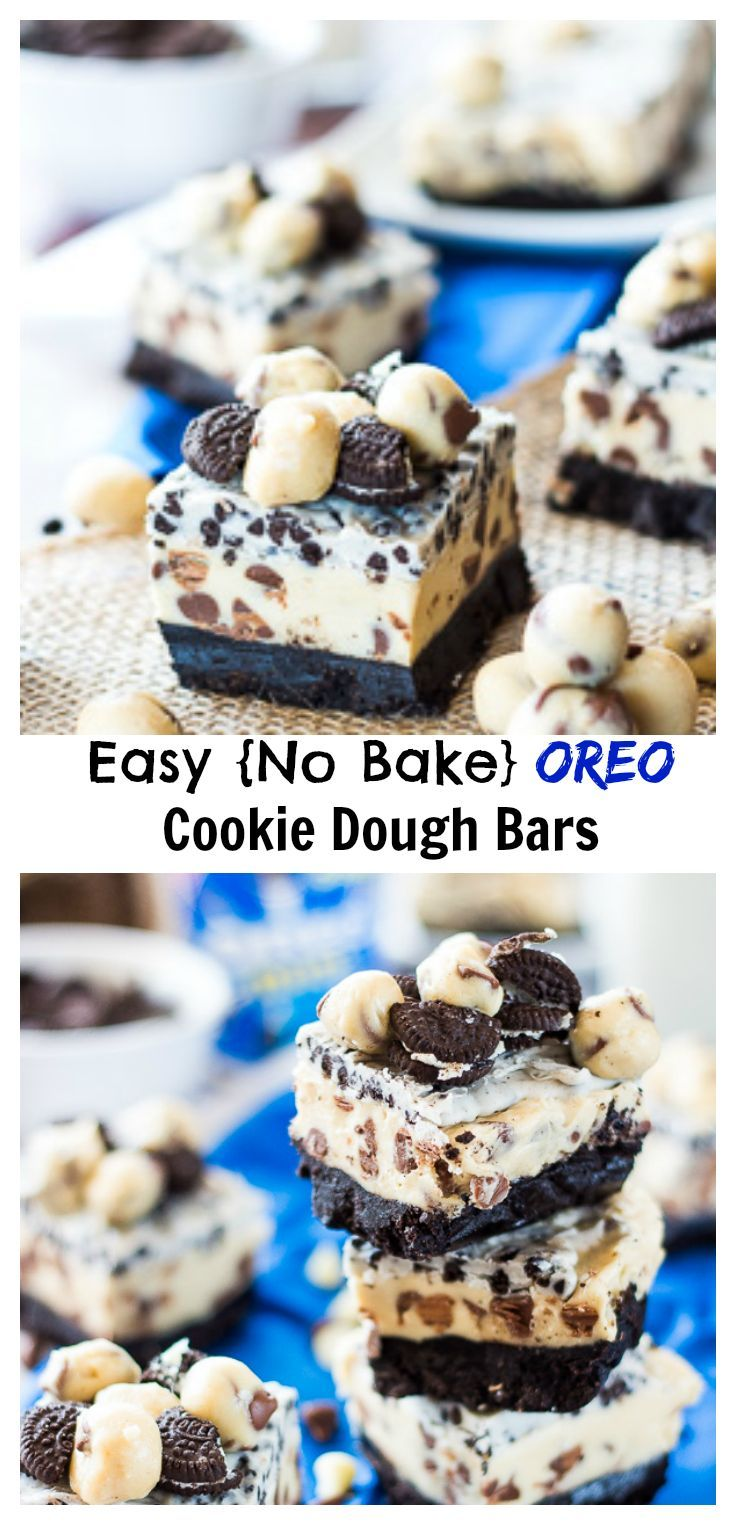 These one bowl, no bake oreo cookie dough bars are a decadent treat that will let you enjoy cookie dough by the handful!