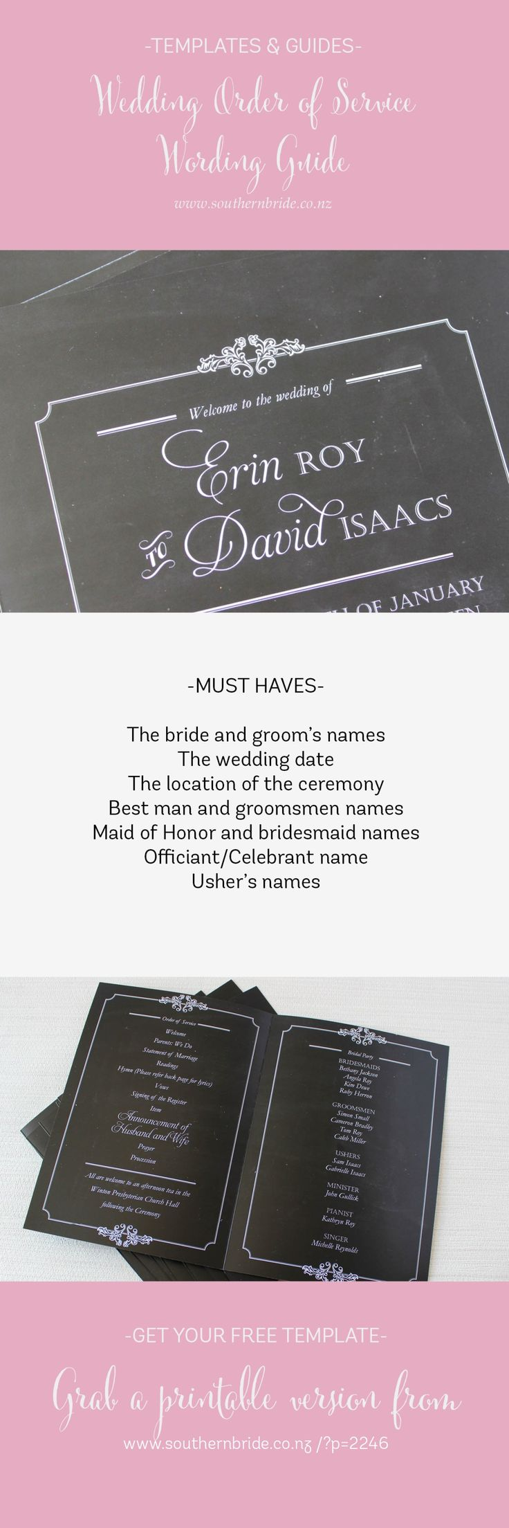 Wedding Order of Service Template Wording Ideas - Must Haves