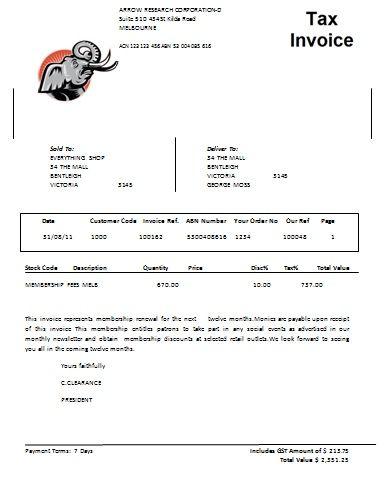 Australian Tax Invoice 8