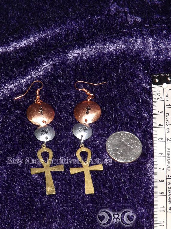 Egyptian Eye Wadjet Ankh Brass Copper  by IntuitiveH3Art143, $20.00