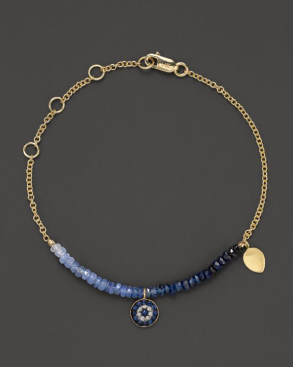 Meira T Diamond, Sapphire and 14K Yellow Gold Evil Eye Bracelet | Bloomingdales's