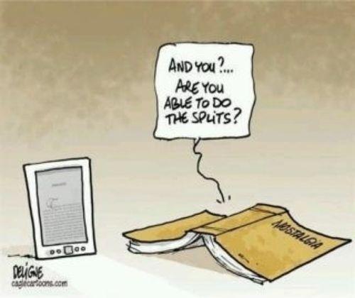 Books vs ebooks.  http://eyesthroughthepublic.tumblr.com/post/73263276528/discussion-mondays-lost-art-of-bookstores-are-books