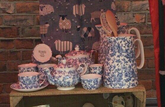 Blue Lemon Blossom Staffordshire Fine Bone China Tea Set, Tea Pots, Cup and Saucer, Suger Bowl, Milk Jug, Mug plus Large and Medium size Water Jugs/ Vases