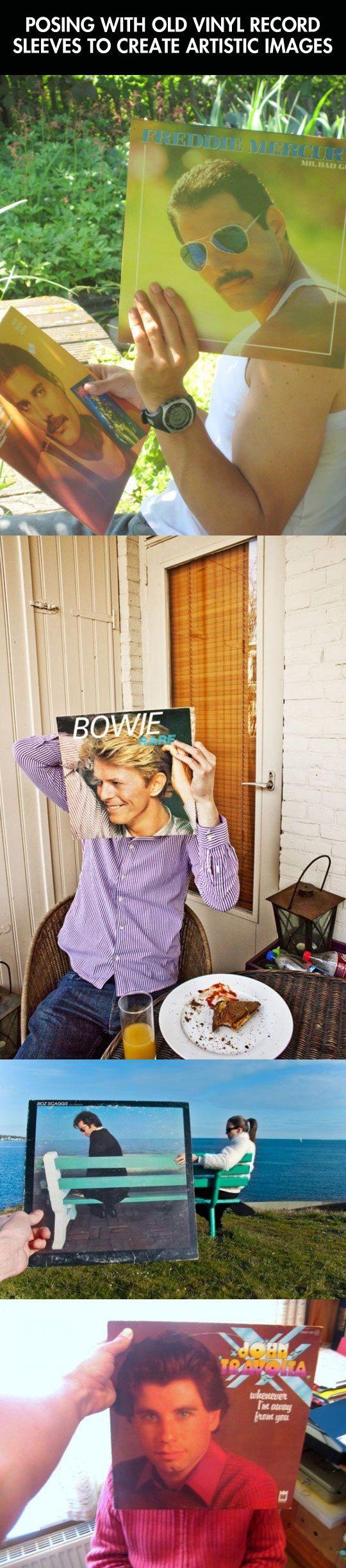 Posing with vinyl records…