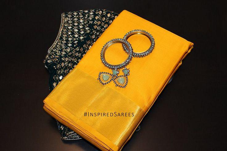 Yellow and Black modern saree. https://www.facebook.com/inspiredsarees https://www.instagram.com/inspiredsarees/ Party Saree Kancheepuram. Kanchipuram sarees Europe.