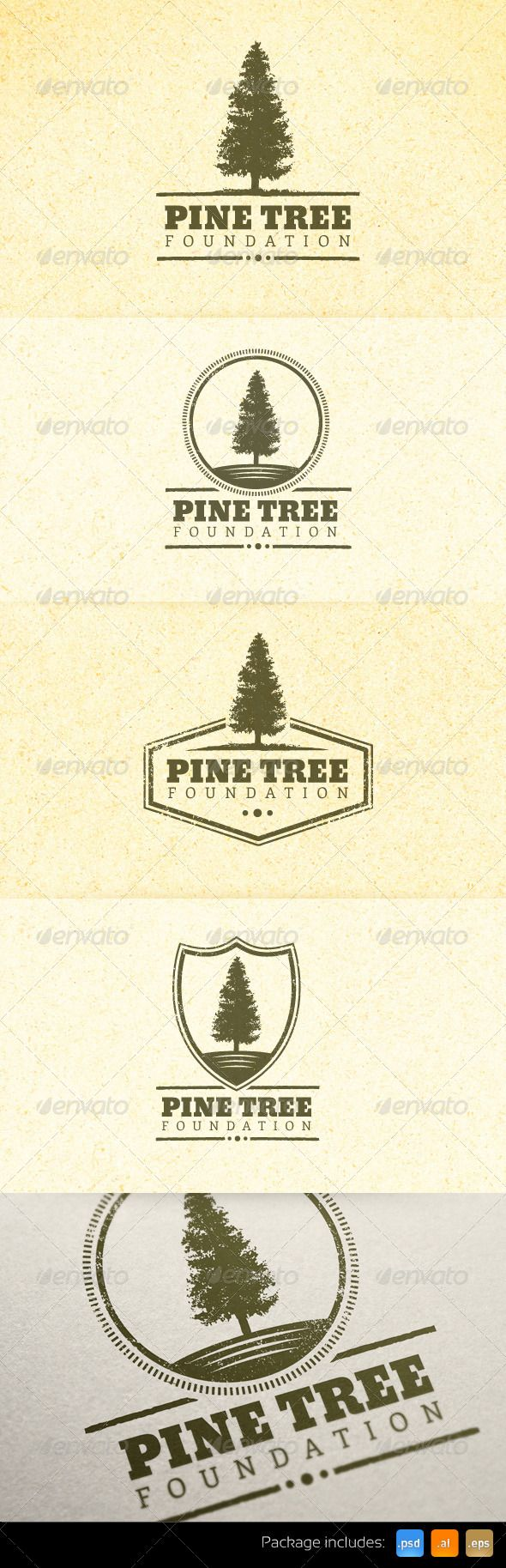 Natural Pine Tree Vintage Emblem Logo Set - Nature Logo Templates