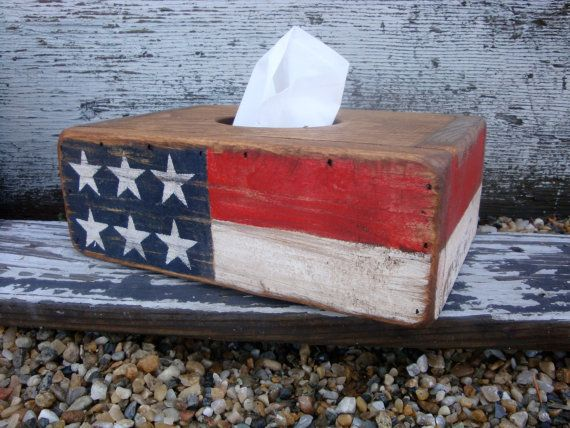 IN STOCK Rustic Distressed Primitive American Flag USA Wood Tissue Box Holder In Stock on Etsy, $49.99