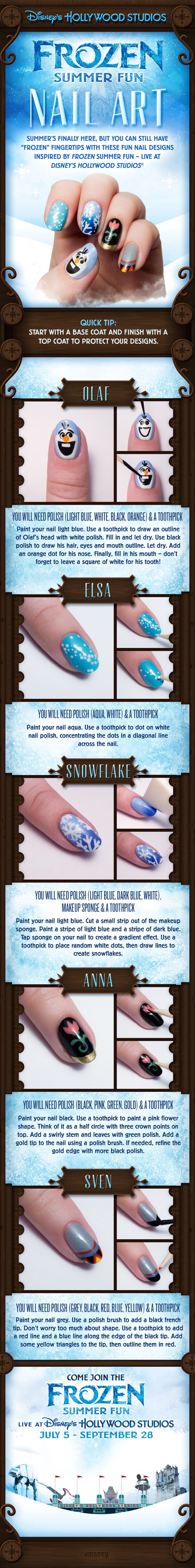Visiting Disney's Hollywood Studios at Walt Disney World to check out Frozen Summer Fun? Show your love for your favorite Frozen characters with this cool nail art tutorial, including Olaf, Anna, and Elsa!