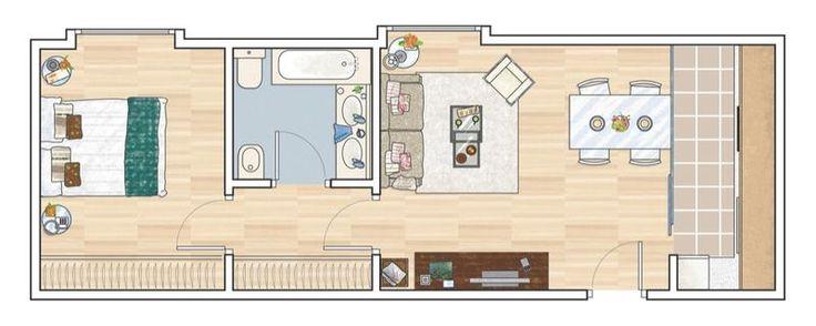 Las 25 mejores ideas sobre planos de los apartamentos en for Distribucion apartamento 50 m2