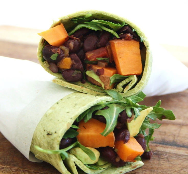 Inspired Edibles: Sweet Potato and Black Bean Burritos with Avocado and ArugulaBeans Burritos, Black Beans, Avocado, Healthy Eating, Inspiration Edible, Favorite Recipe, Mr. Beans, Beans Wraps, Sweets Potatoes