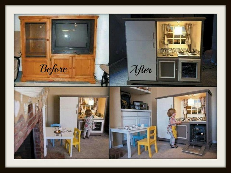 Out-dated entertainment stand Makeover to kids kitchen