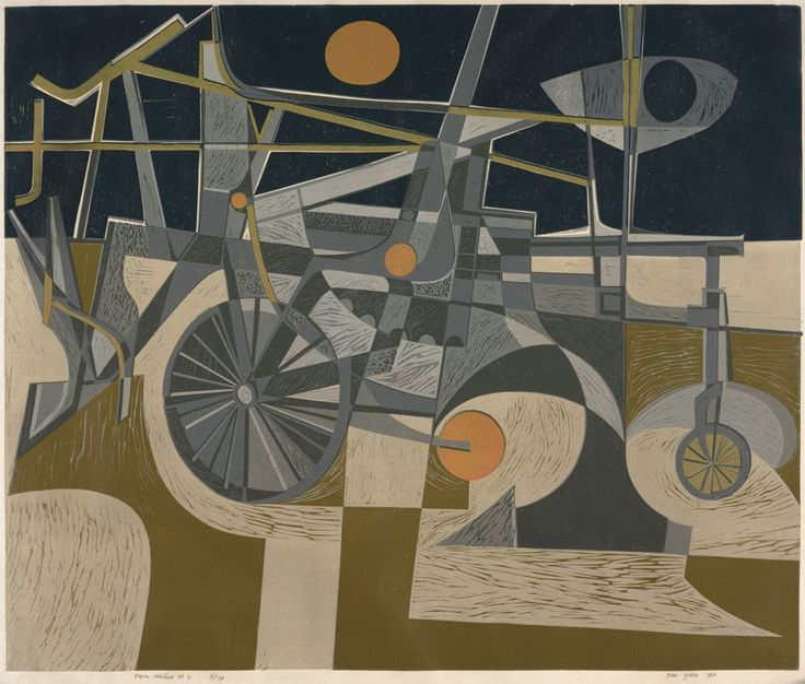 'Farm Machine No. 5' - an early linocut by Peter Green OBE. This will feature in 'Peter Green - The Workmanship of Uncertainty', a book that we'll be publishing about Peter's work later in the summer. Written by art historian and curator Nathaniel Hepburn and published under our Random Spectacular imprint. http://www.stjudesprints.co.uk/collections/peter-green/products/peter-green-the-workmanship-of-uncertainty