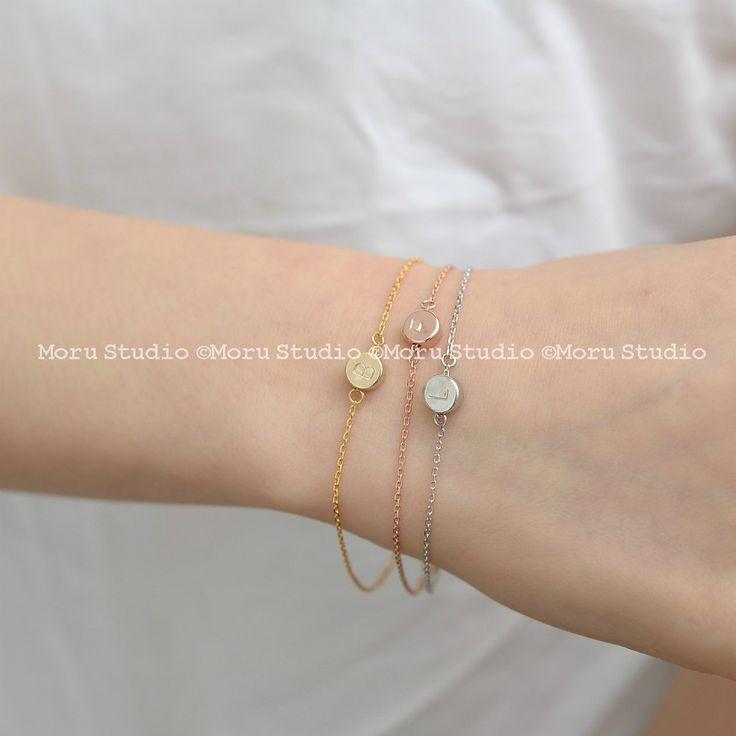 Initial Dot Bracelet -Personalized Disc Bracelet, Bridesmaid Bracelet, Layering…