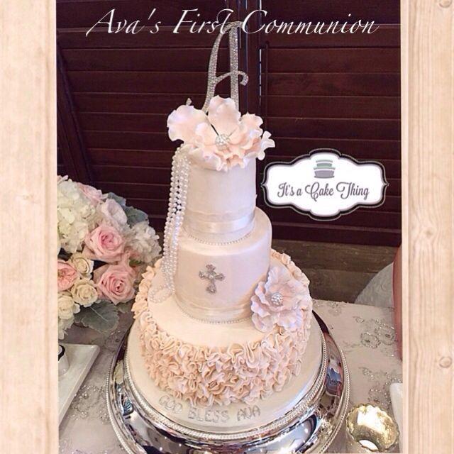 Ruffle Communion cake  by It's a Cake Thing  #flipagram Video - http://flipagram.com/f/VFhMMlOA22