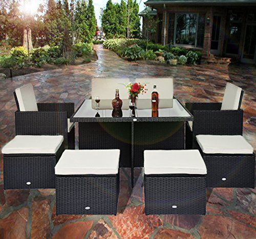 Rattan Garden Furniture Aluminium Outdoor Patio Set Cube Weave Wicker  Dining 9pc Outsunny Http:/