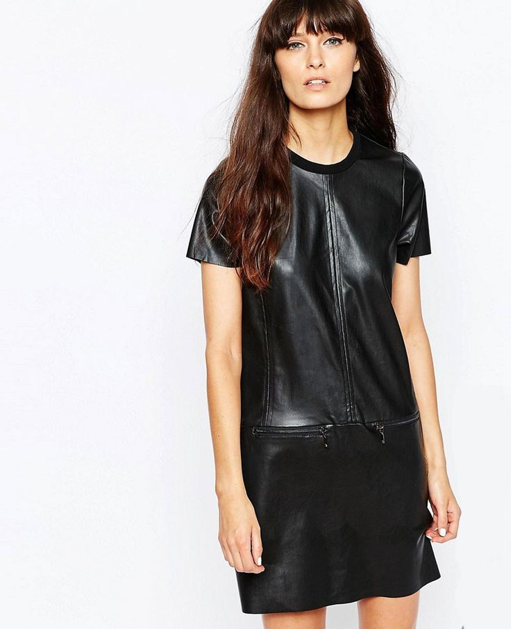 Shop Vero Moda Tall Faux Leather Shirt Dress With Zip Detailing at ASOS.