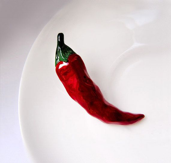 Brooch Red Hot Chilly Pepper, garnet, red vegetable jewelry, gift idea, Valentines gift idea