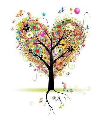 Vacances heureux, arborescence en forme de coeur avec bulles