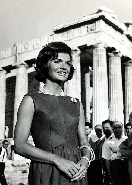 14th June 1961, Athens, America's First Lady Jacqueline Kennedy, the wife of President Kennedy, pictured at the Acropolis during a visit to Greece